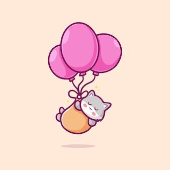 Słodki kot pływający z balonową ilustracją kreskówki koncepcja odosobnionej technologii płaskiej kreskówki