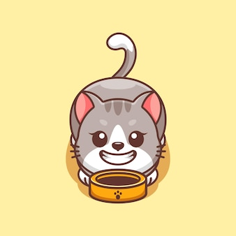 Słodki kot prosi o kreskówkę z jedzeniem