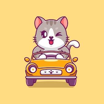 Słodki kot prowadzący kreskówkę samochodu