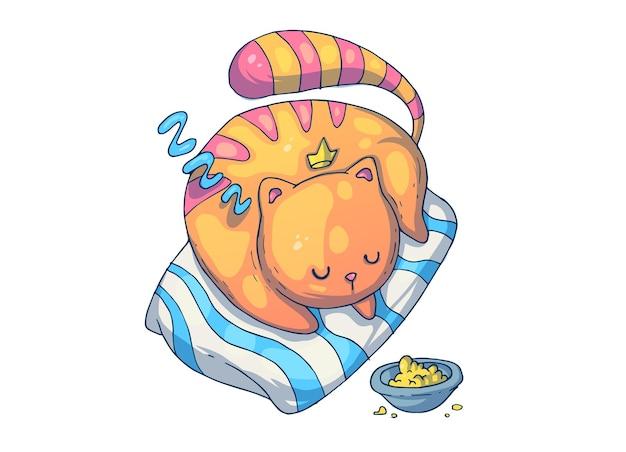 Słodki kot śpi na poduszce. ilustracja kreatywnych kreskówek.