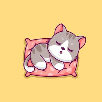Słodki kot śpiący na poduszce kreskówka
