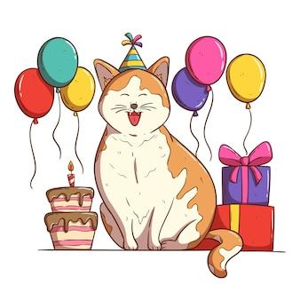 Słodki kot świętuje przyjęcie urodzinowe z balonami na tort urodzinowy i pudełkiem na prezent