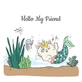Słodki kot syrenka kreskówka z rogiem jednorożca, pływający w morzu ze zwierzętami morskimi.