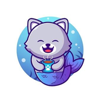Słodki kot syrenka trzyma filiżankę kawy ikona ilustracja kreskówka.