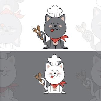Słodki kot szefa kuchni / logo / maskotka