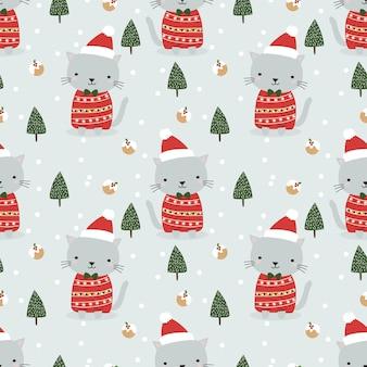Słodki kot w motywie świątecznym bez szwu