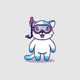 Słodki kot w okularach do nurkowania