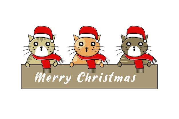 Słodki kot w świątecznym kapeluszu kreskówka