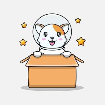 Słodki kot w tekturowym kostiumie astronauty