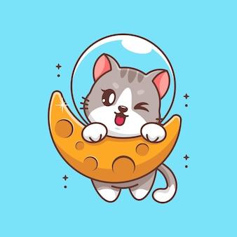 Słodki kot wiszący na kreskówce księżyca