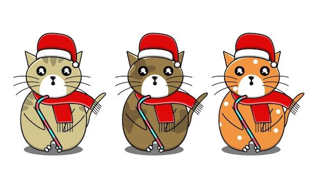 Słodki kot z bożonarodzeniową kreskówką z cukierków