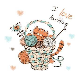 Słodki kot z dużym koszem kulek włóczki do robienia na drutach. wektor.