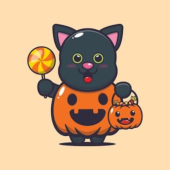 Słodki kot z halloweenowym kostiumem dyni słodka ilustracja kreskówka halloween