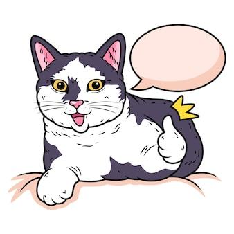 Słodki kot z kciukiem w górę. ilustracja ikony zwierząt