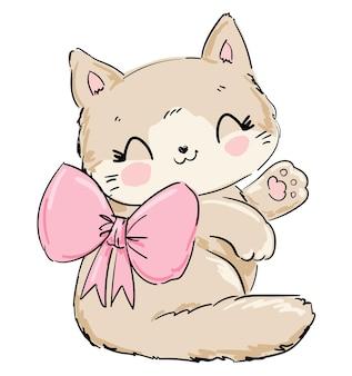 Słodki kot z kokardą szkic
