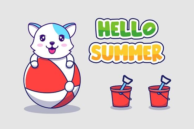 Słodki kot z powitalnym letnim banerem powitalnym