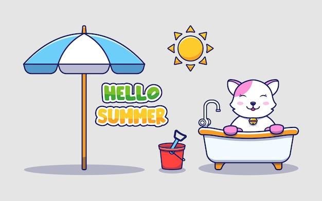 Słodki kot z powitaniem na lato