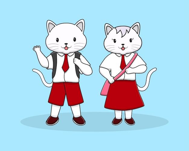 Słodki kot z powrotem do szkoły z torbą