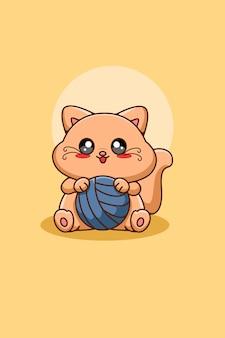Słodki kot z przędzą piłka ilustracja kreskówka zwierząt