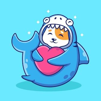 Słodki kot z rekinem kostium uścisk serca kreskówka