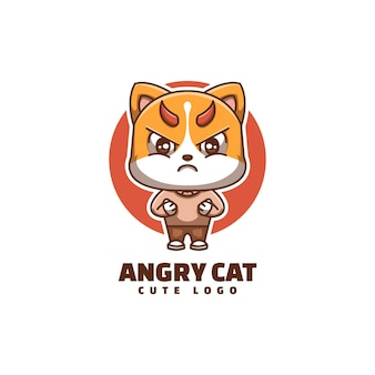 Słodki kot zły twarz kreskówka maskotka logo