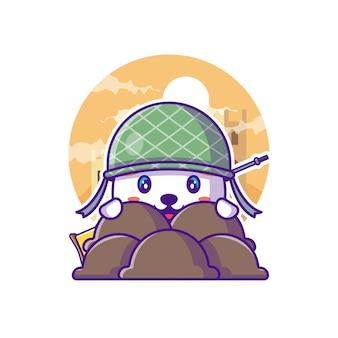Słodki kot żołnierz armii ilustracja kreskówka