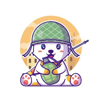 Słodki kot żołnierz armii trzyma granat ilustracja kreskówka