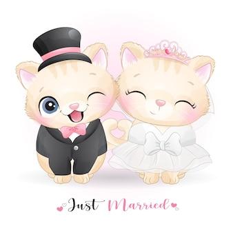 Słodki kotek doodle z ubraniami ślubnymi, właśnie żonaty