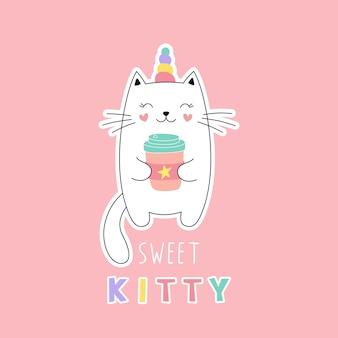 Słodki kotek jednorożec, dziewczęcy nadruk na koszulkę, naklejka. śliczna ilustracja na różowym tle.