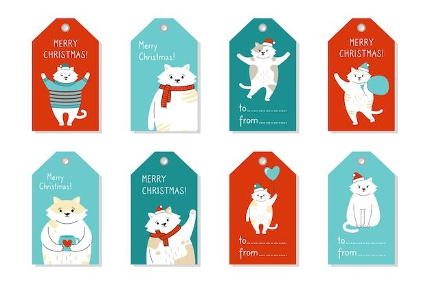 Słodki kotek papierowej etykiety