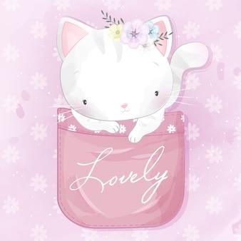 Słodki kotek w kieszeni