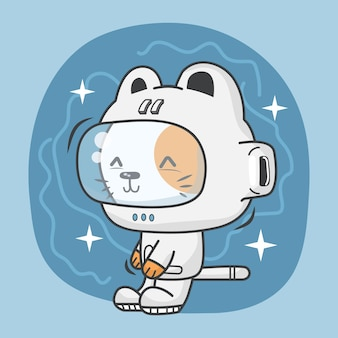 Słodki kotek w stroju astronauty