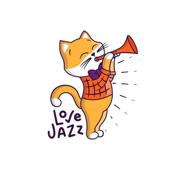 Słodki kotek w stylu retro