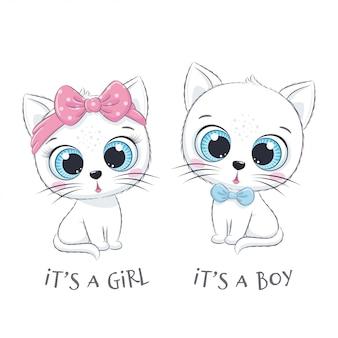 """Słodki kotek z frazą """"to chłopiec"""" i """"to dziewczynka"""""""