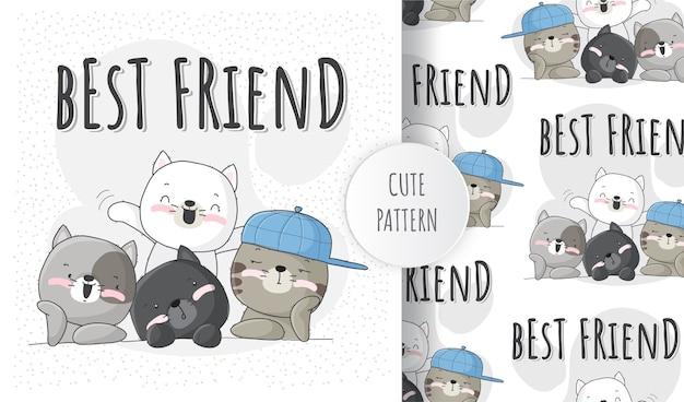 Słodki kotek zwierzęcy z zestawem wzorów najlepszego przyjaciela
