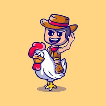 Słodki kowboj na święto dziękczynienia jeżdżący na kurczaku