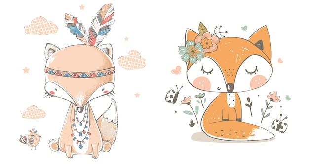 Słodki kreskówka lis z piórami na białym tle