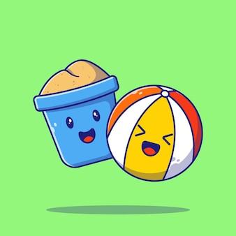 Słodki kreskówka wiaderko z piaskiem i piłka plażowa