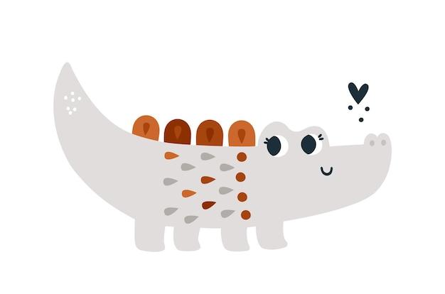 Słodki krokodyl z kwiatowym ornamentem ilustracja dla dzieci z kreskówkowym zwierzęciem