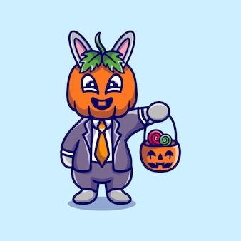 Słodki króliczek dyniowy przynosi cukierki na halloween
