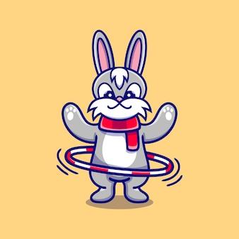 Słodki króliczek grający w hula-hoop
