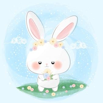 Słodki króliczek i kwiaty