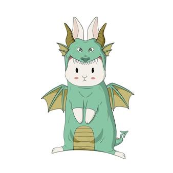 Słodki króliczek nosi kostium smoka