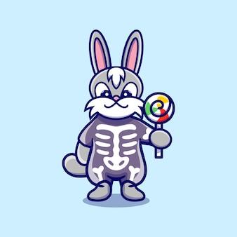 Słodki króliczek noszący szkieletowy kostium na halloween i niosący lizaka