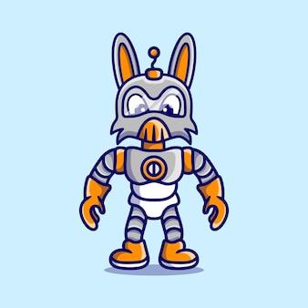 Słodki króliczek noszący zbroję robota