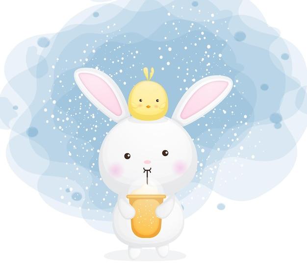Słodki króliczek pić mrożoną kawę kreskówka premium wektorów