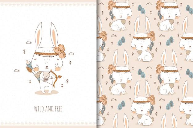 Słodki króliczek. postać z kreskówki tribal leśnych zwierząt. zestaw ilustracji i wzorów