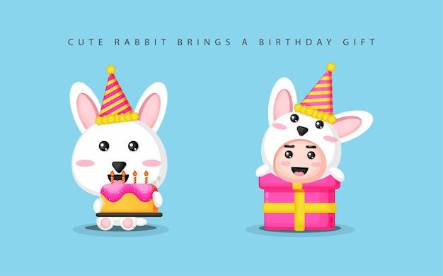 Słodki króliczek przynosi prezenty urodzinowe