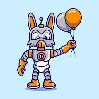 Słodki króliczek robot trzymający balon