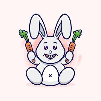Słodki króliczek siedzący trzymający marchewki
